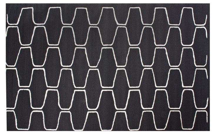 5'x8' Tatiana Rug, Charcoal/White