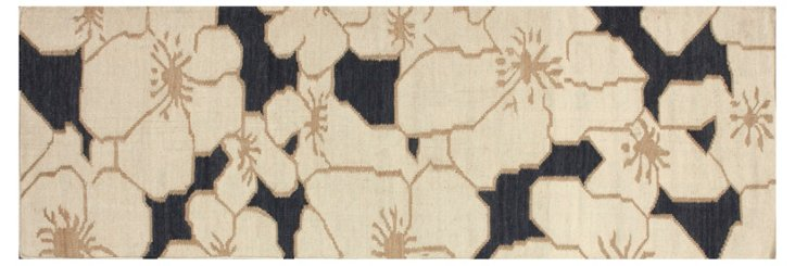 Clare Flat-Weave Rug, Blue/Ivory