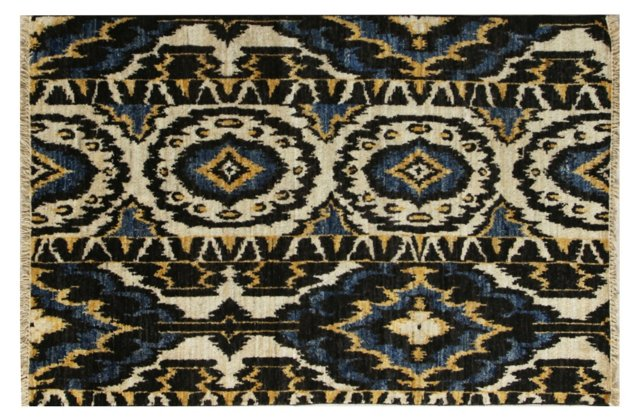 Hand-Knotted Ikat Rug, Blue