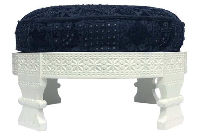 Nora Ottoman, White/Midnight Blue