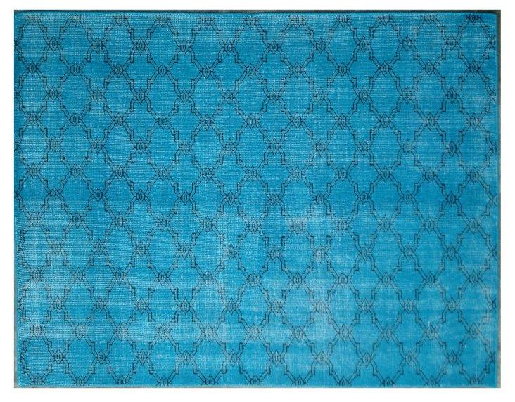 Overdyed Trellis Rug, Turquoise