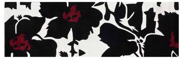 """2'6""""x8' Urban Fleur Runner, Black/White"""