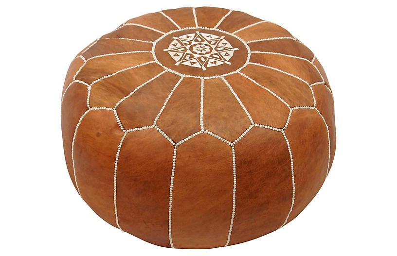 Moroccan Leather Pouf, Brown