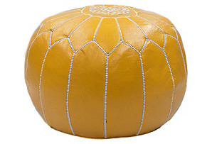Moroccan Leather Pouf, Saffron*