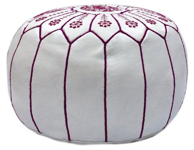 Moroccan Pouf, White/Fuchsia