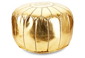 Moroccan Leather Pouf, Gold*