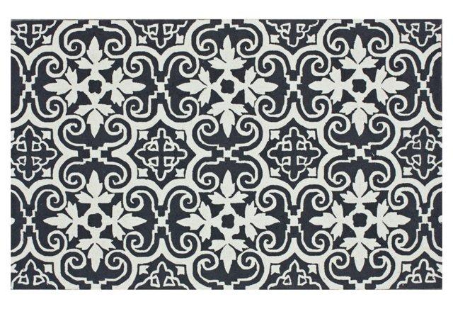 Reve Rug, Charcoal/White