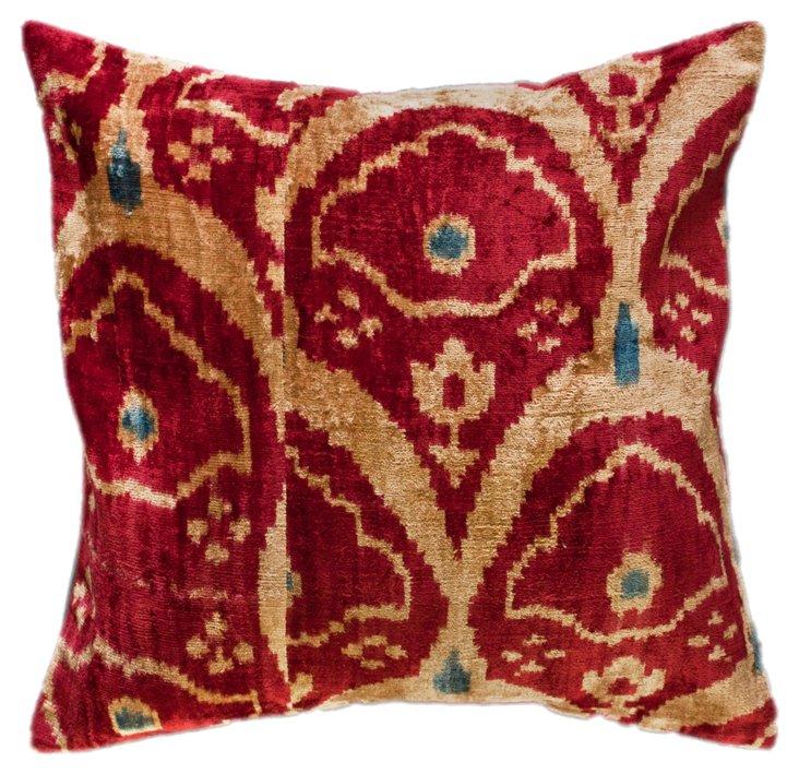 Fans 18x18 Silk-Blend Pillow, Poinsettia