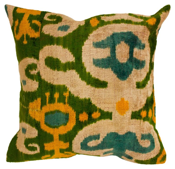 Forest 18x18 Silk Blend Pillow, Green