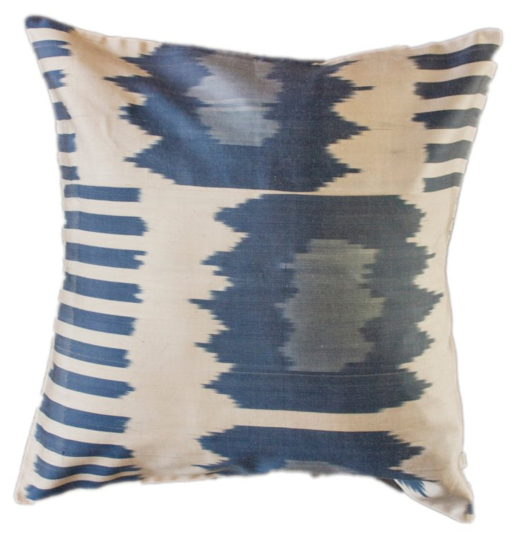Markings 18x18 Silk-Blend Pillow, Blue