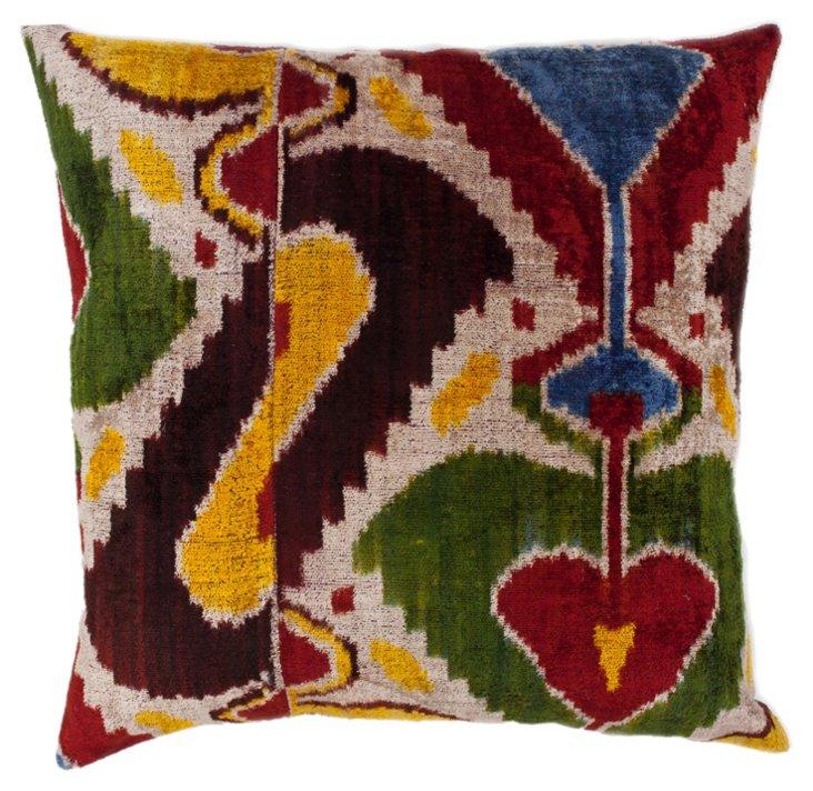 Cadence 18x18 Silk-Blended Pillow, Green