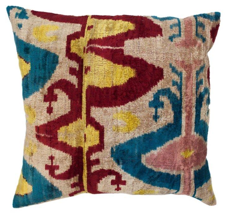 Multi 18x18 Silk Ikat Pillow