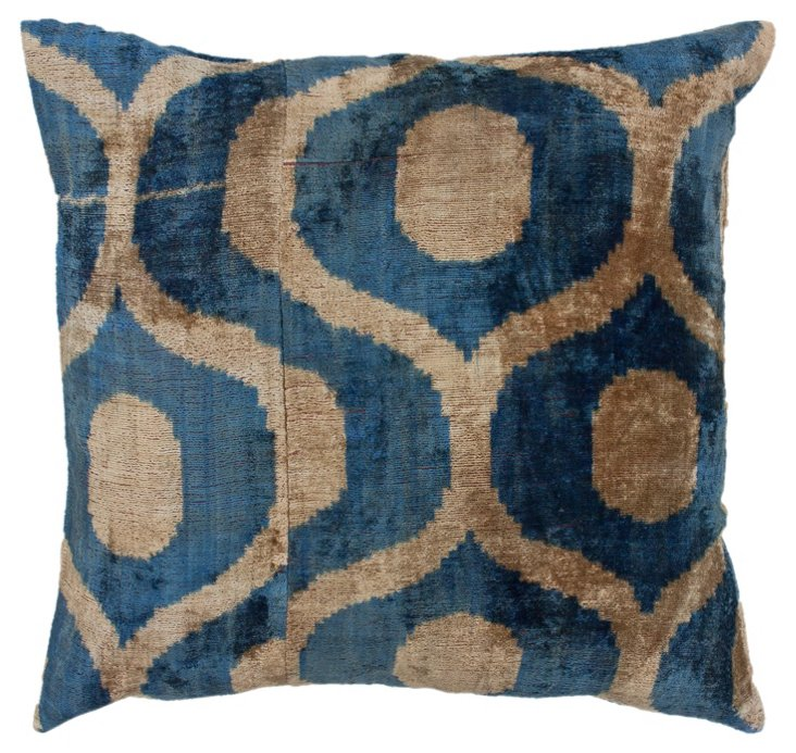 Merida 18x18 Silk-Blend Pillow, Blue
