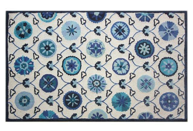 Dayton Rug, Ivory/Blue