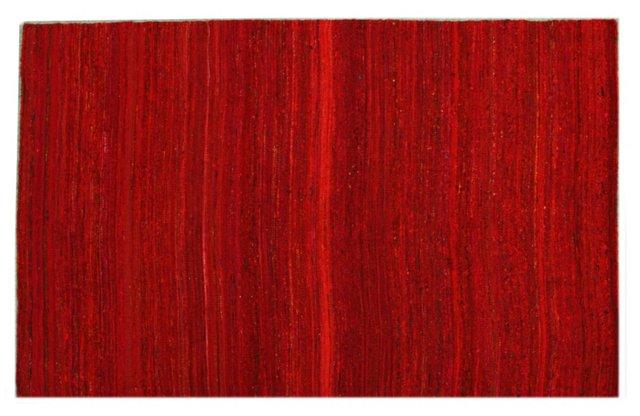 "4'7""x6'7"" Ruby Flat-Weave Rug, Crimson"