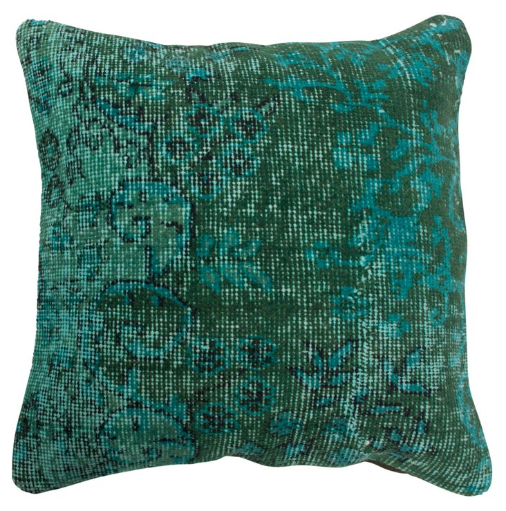 Overdyed 18x18 Pillow, Turquoise/Teal