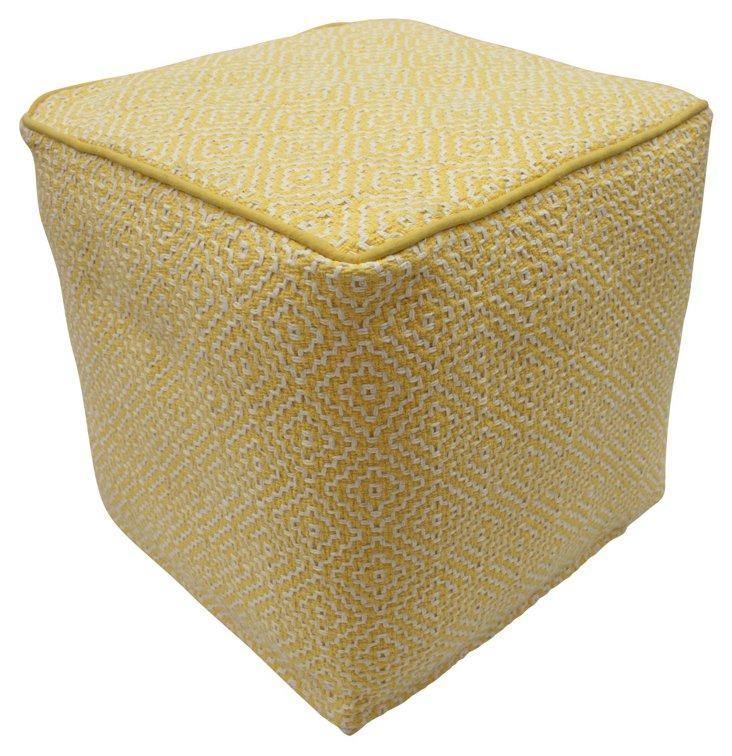 Helena Cube Pouf, Yellow/White
