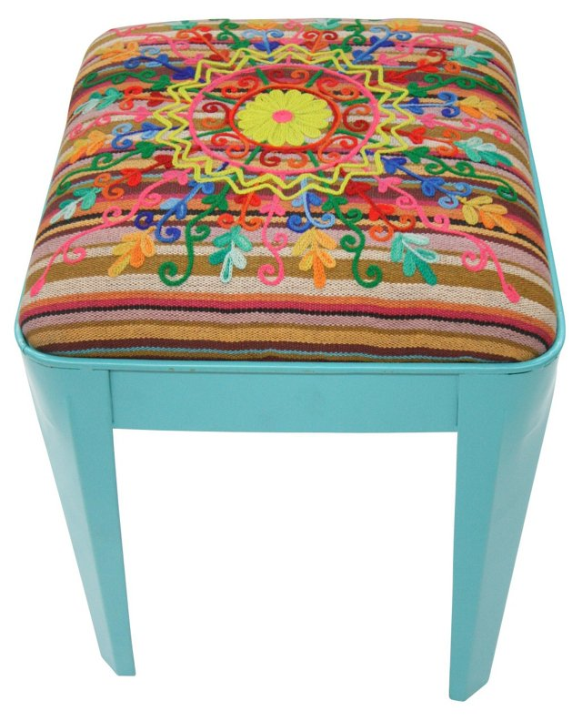 Milly Embroidered Stool, Turquoise