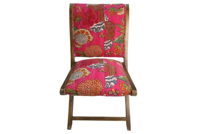 Rajasthani Silk Folding Chair, Fuchsia