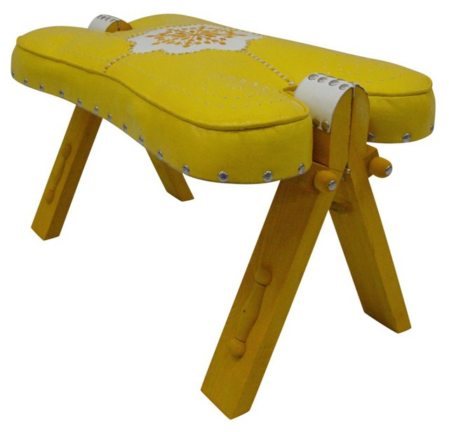 Moroccan Leather Stool, Yellow