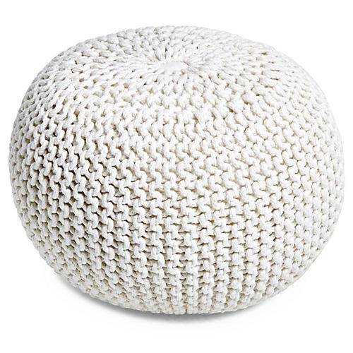 Kelli Knitted Pouf, White