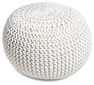 Beau Kelli Knitted Pouf, White   Poufs   Ottomans, Poufs U0026 Stools   Living Room    Furniture | One Kings Lane
