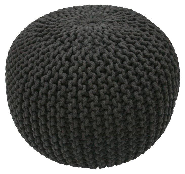 Kelli Knitted Pouf, Black