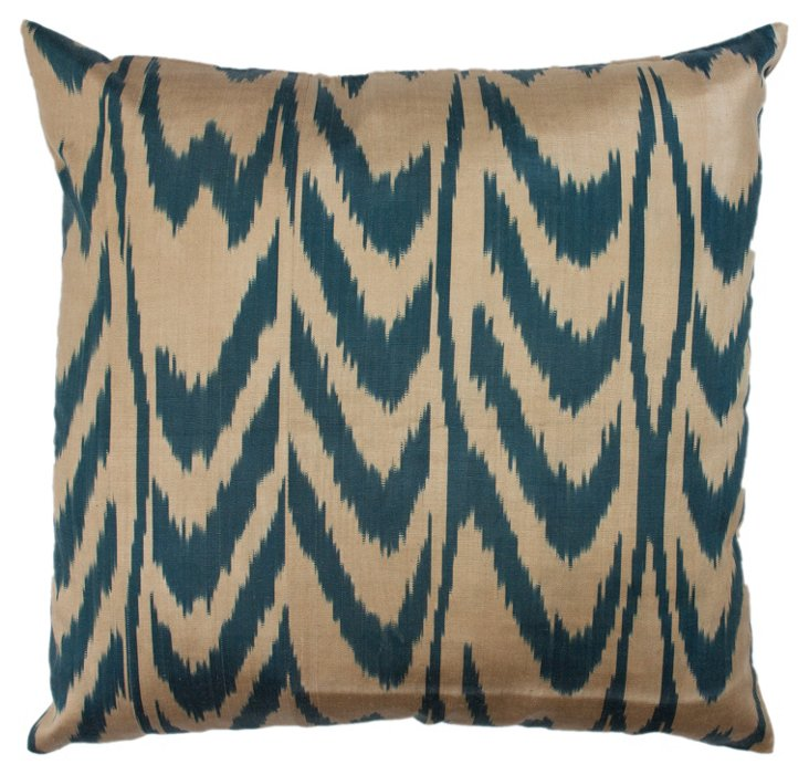 Ikat Wood 18x18 Pillow, Pacific Blue