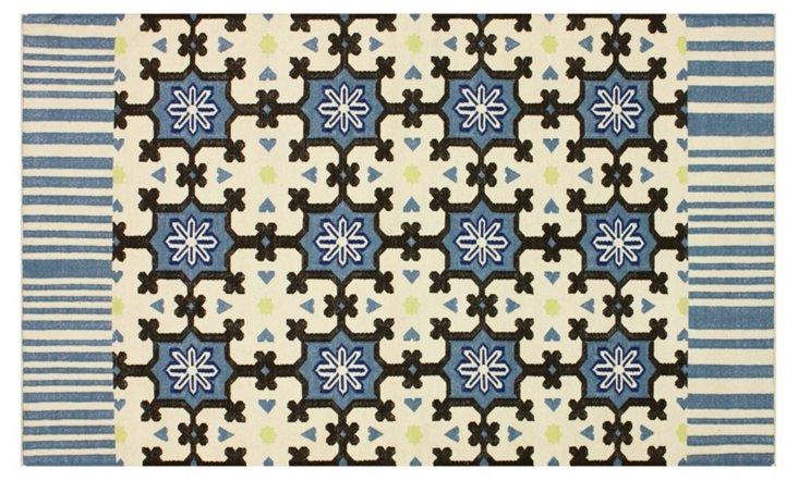 5'x8' Galina Flat-Weave Rug, Denim