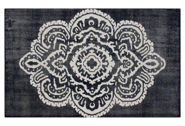Nadya Flat-Weave Rug, Navy/Ivory
