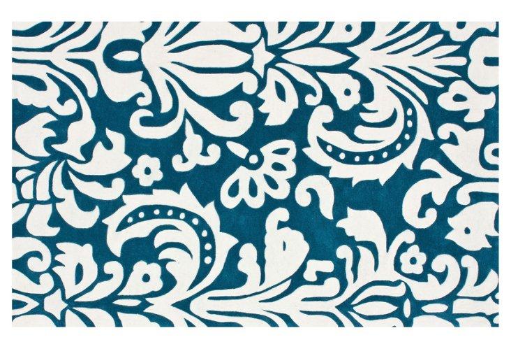 """7'6""""x9'6"""" Eluned Rug, Blue/Ivory"""