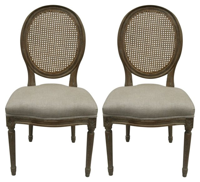 Beige Franc Linen Chairs, Pair