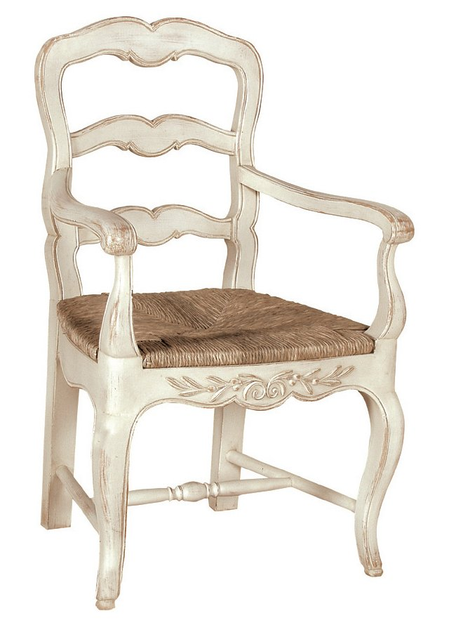 Karen Dining Armchair, White/Straw