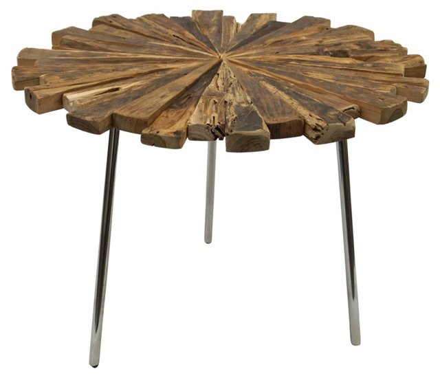 Tulum Accent Table, Silver/Natural
