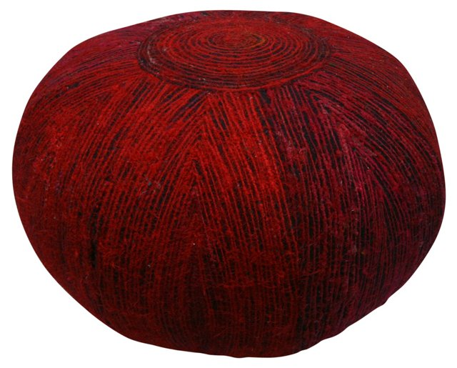 Nina Recycled-Silk Pouf, Red/Black