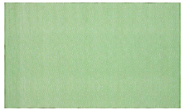 8'x10' Chevron Outdoor Rug, Green