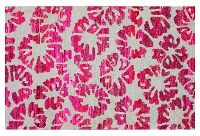 Piero Flat-Weave Rug, Gray/Pink