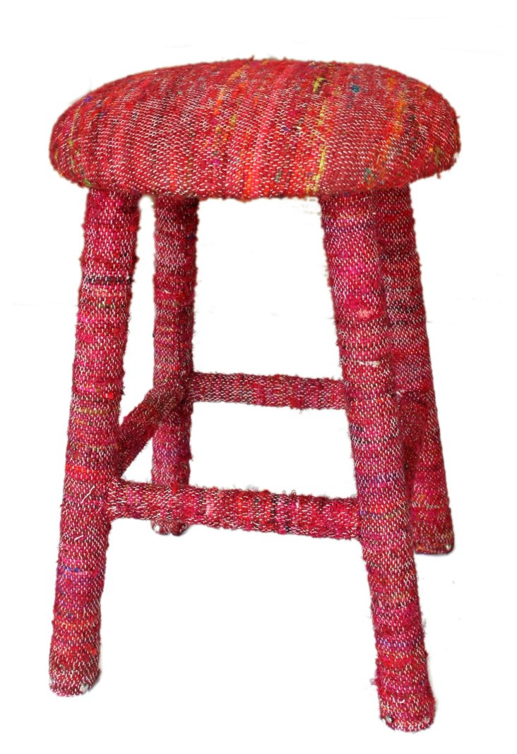 Recycled Silk Counter Stool, Red