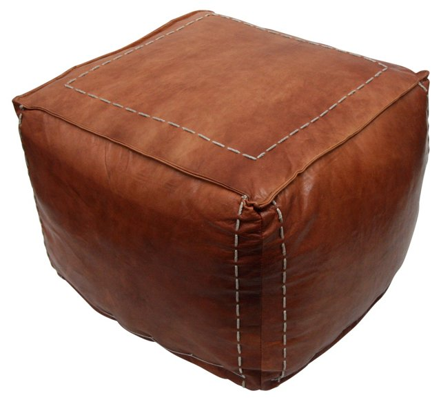 Camila Leather Pouf, Brown