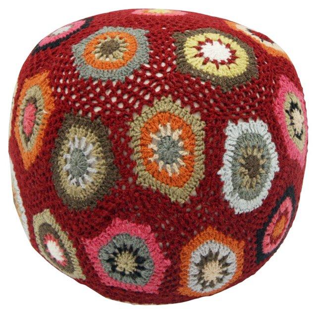 Sunflower Wool Pouf, Multi