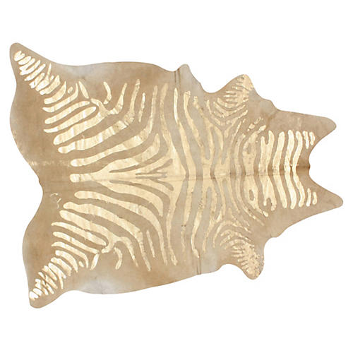 5'x7' Gilded Zebra Hide, Camel/Gold