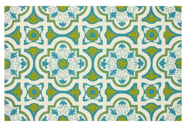 Lolita Outdoor Rug, Blue/Multi