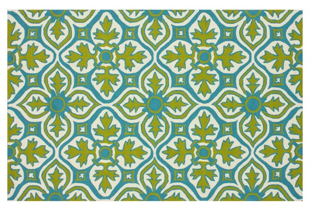 Snead Outdoor Rug, Lime/Multi