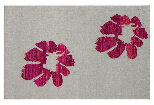 Sasha Flat-Weave Rug, Fuchsia/Gray