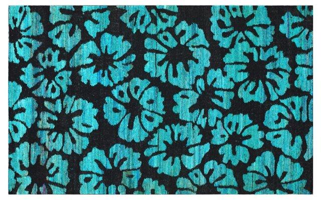 Piero Flat-Weave Rug, Black/Aqua