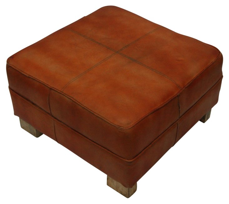*Magda Square Ottoman, Saddle Brown