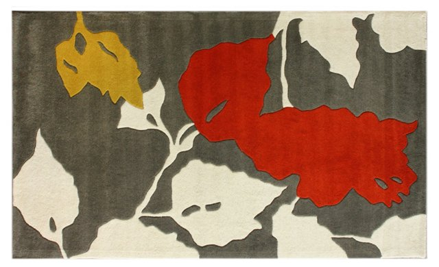 5'x8' Flory Rug, Charcoal/Red