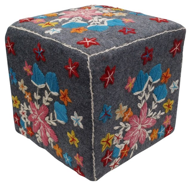 Jardin Embroidered Pouf