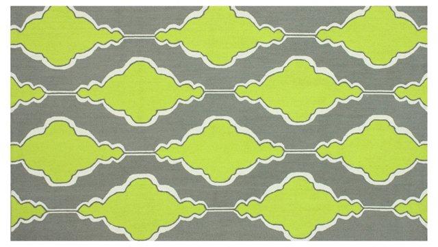 Trellis Rug, Gray/Lime