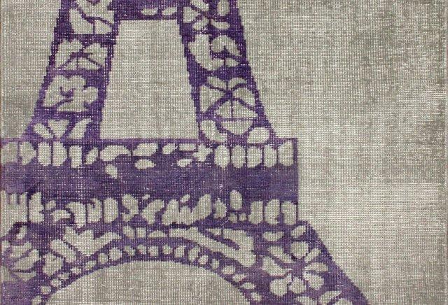 5'x8' Eiffel Rug, Greige/Purple